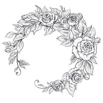 Elegant hand drawn graphic bouquet with rose flowers and leaves.