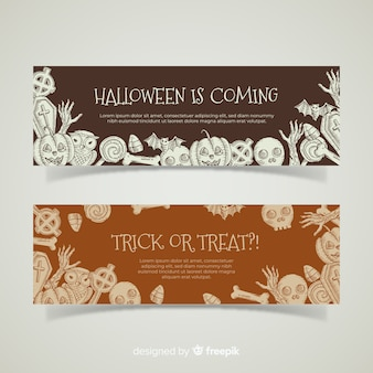 Elegant hand drawn halloween banners