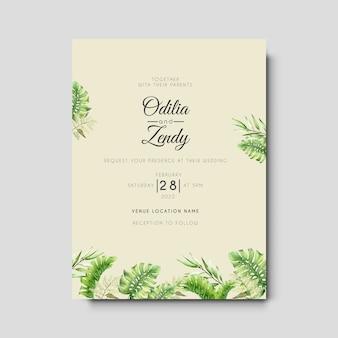 Элегантный рисованной листья свадебное приглашение шаблон