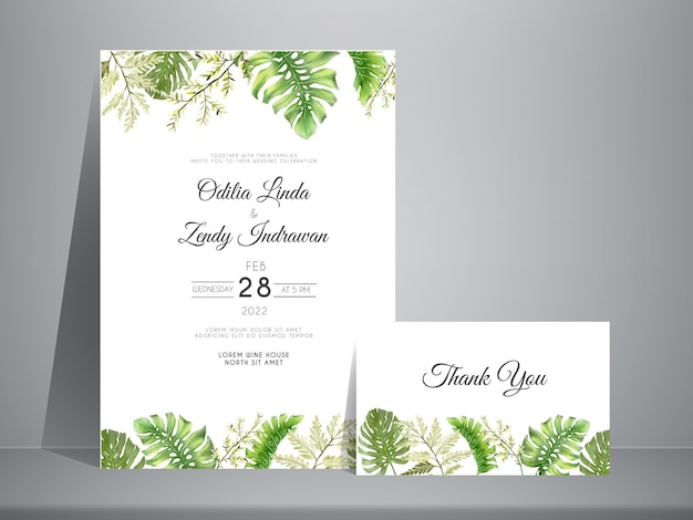 エレガントな手描きの葉の結婚式の招待状のテンプレート