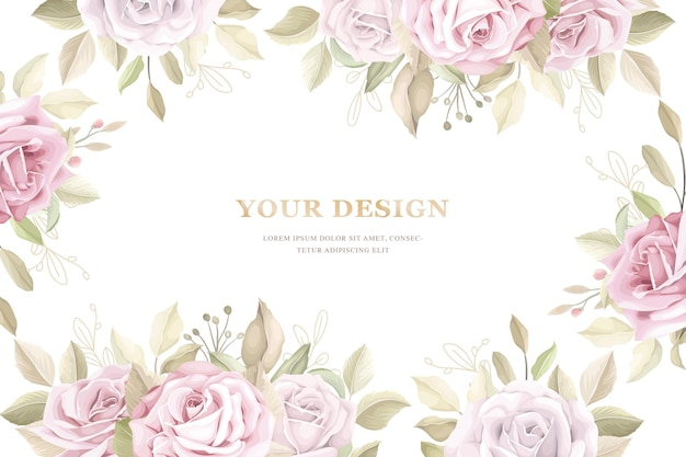Elegant hand drawn lily invitation card set