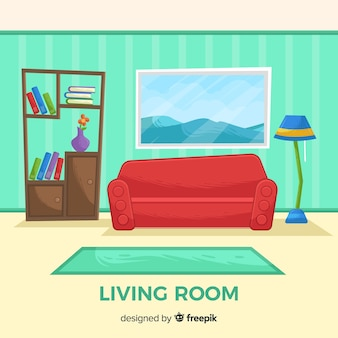 Elegant hand drawn living room interior