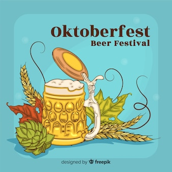 Elegant hand drawn oktoberfest composition