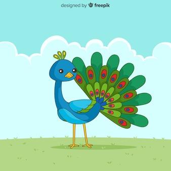 Elegant hand drawn peacock