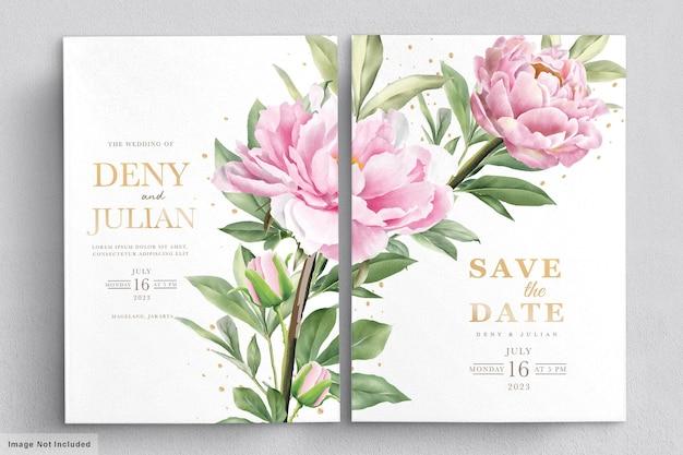 エレガントな手描きの牡丹の招待カードセット