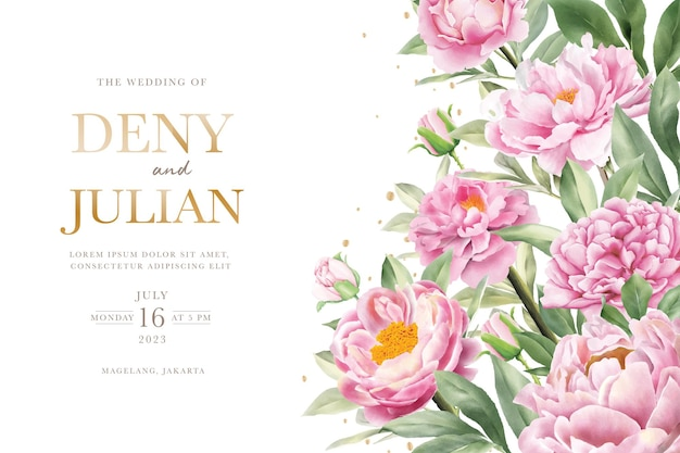 Elegant hand drawn peony invitation card set Free Vector