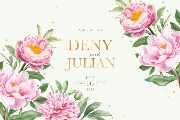 Elegant hand drawn peony invitation card set