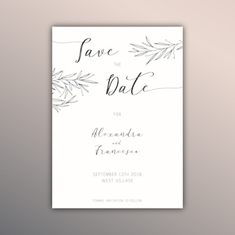 Elegant hand drawn save the date card
