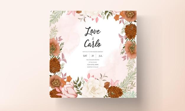 Elegant hand drawn sweet floral wedding invitation card
