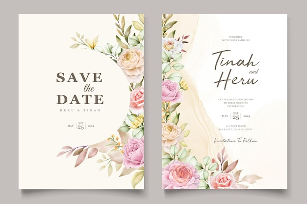 우아한 손으로 그린 수채화 꽃 여름 초대 카드