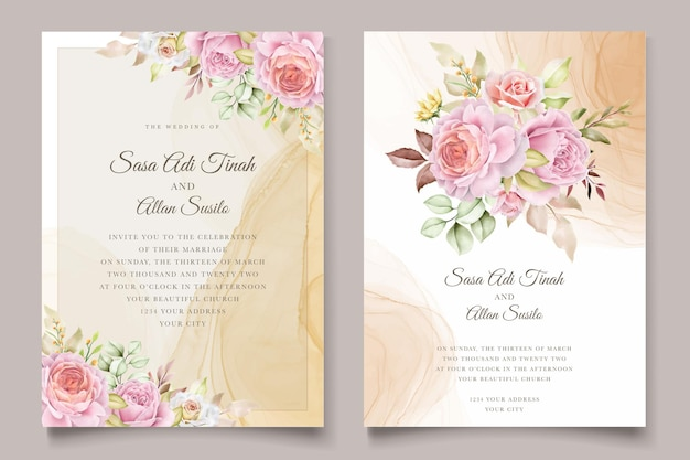 Элегантный рисованной акварельный цветочный летний пригласительный билет