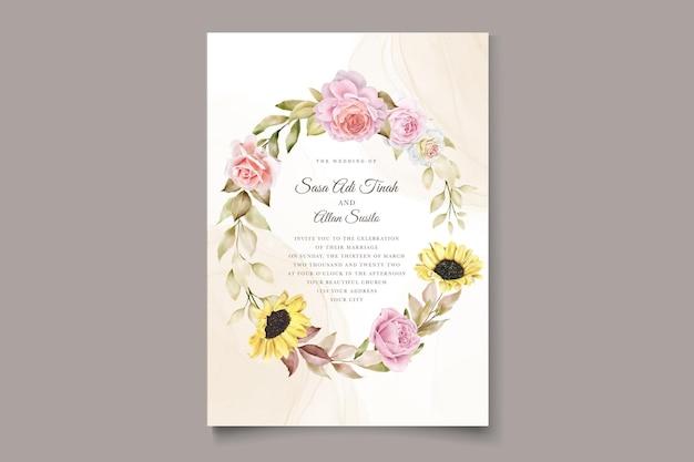 Elegant hand drawn watercolor floral summer invitation card