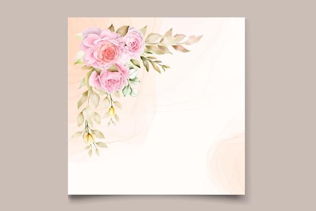 Elegante biglietto d'invito estivo floreale acquerello disegnato a mano