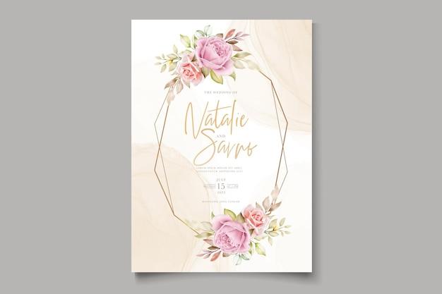 エレガントな手描き水彩花の夏の招待カード