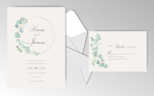 Elegant hand drawn wedding invitation card with leaves
