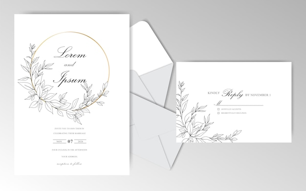 Elegant hand drawn wedding invitation cards template with beautiful leaves