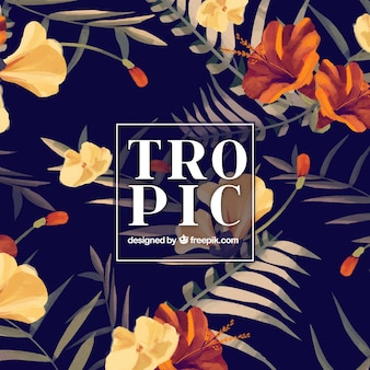 Elegant hand painted tropical background