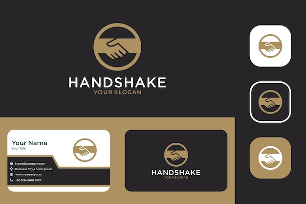 Elegant handshake logo design and business card