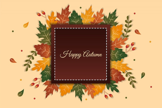Elegant happy autumn greeting background with colorful leaves behind square shape