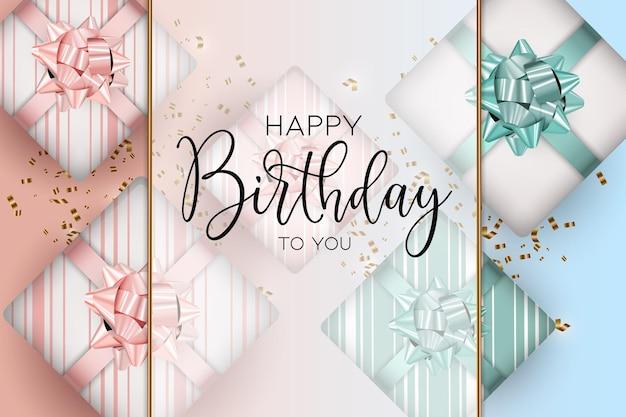 Элегантный фон с днем рождения с розовым и синим вектором подарочной коробки.