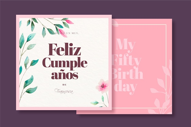 Elegant happy birthday greeting card