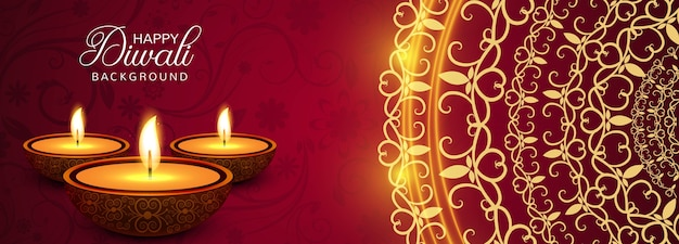 Elegant happy diwali colorful banner vector illustration