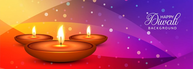 Elegant happy diwali colorful banner vector