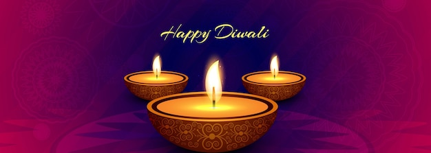 Elegant happy diwali colorful banner with festival background vector