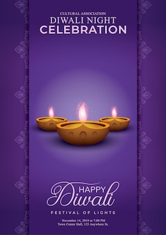 Elegant happy diwali decorative purple