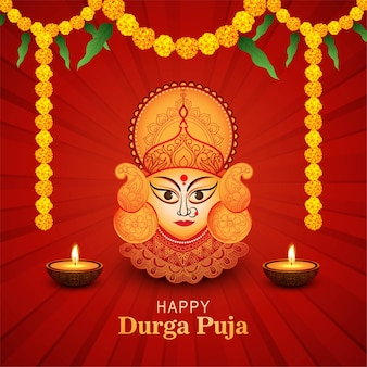 Elegant happy durga pooja indian festival card