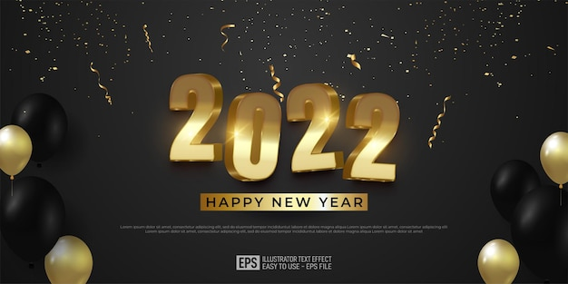 Elegant happy new year background with luxury golden 3d text effect