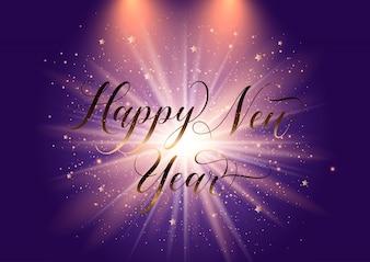 Elegant Happy New Year background with starburst design