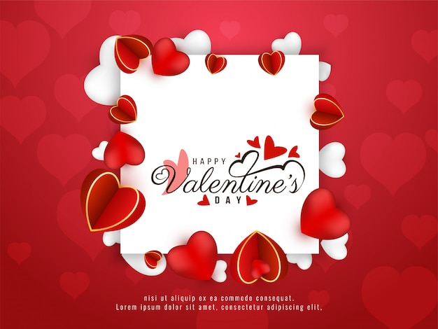 Elegant happy valentine's day stylish frame background