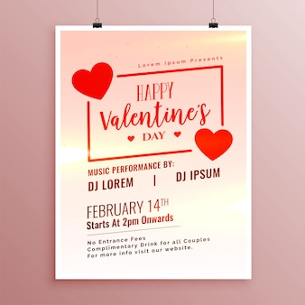 Elegant happy valentines day hearts flyer template