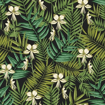 Elegant hawaiian seamless pattern with exotic palm tree leaves and flowers