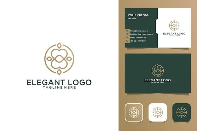 Элегантный дизайн логотипа искусства линии здоровья и визитная карточка