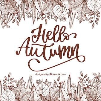 Elegant hello autumn lettering composition