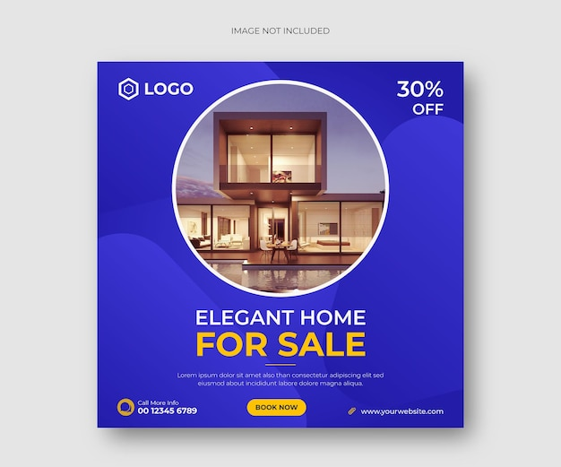 Элегантный дом для продажи в социальных сетях пост баннер или квадратный флаер шаблон