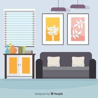 Элегантный домашний интерьер с плоским дизайном