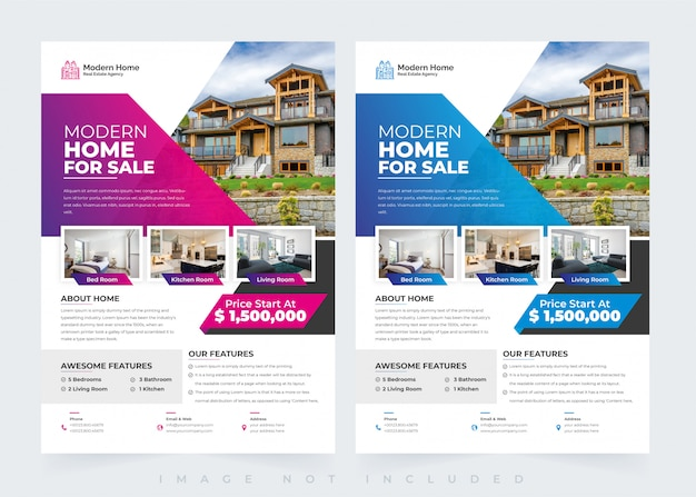 Elegant home real estate flyer design template