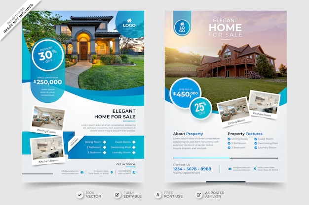 Elegant home for sale real estate flyer poster template with photo