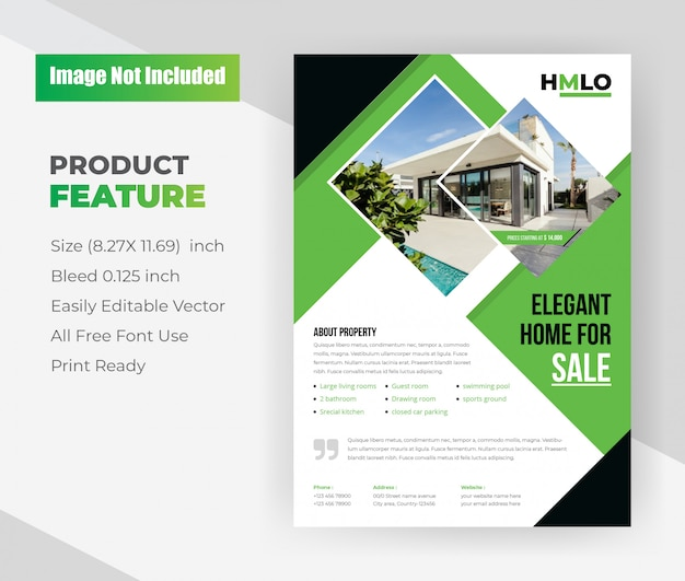 Elegant home for sale real estate flyer template