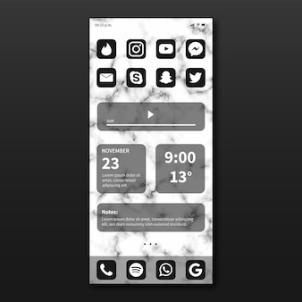Элегантный шаблон домашнего экрана для смартфона