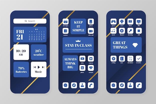 スマートフォン用のエレガントなホーム画面テンプレート