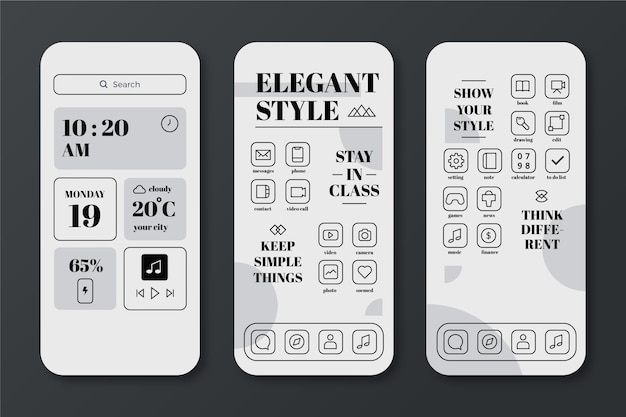 Elegant home screen template for smartphone