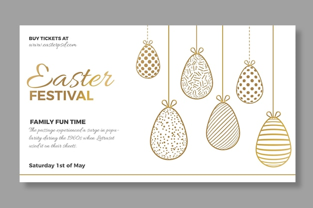 Elegant horizontal banner template for easter sale