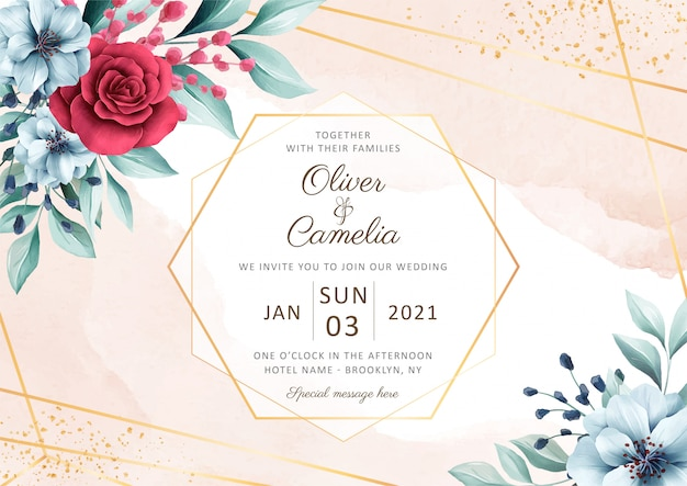 Elegant horizontal wedding invitation card template with beautiful watercolor floral decoration