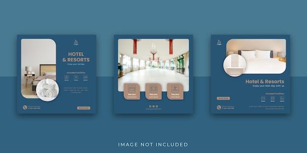 エレガントなホテルとリゾートのソーシャルメディアのinstagramの投稿テンプレート