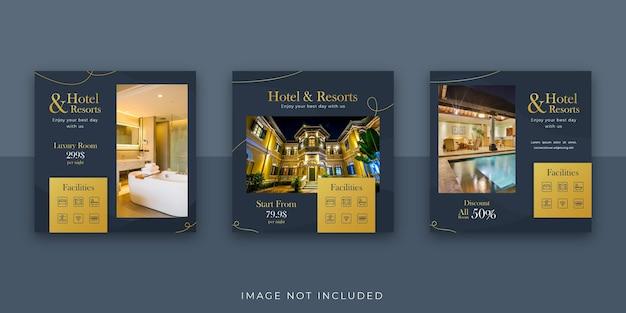 Elegant hotel and resort social media instagram post template Premium Vector