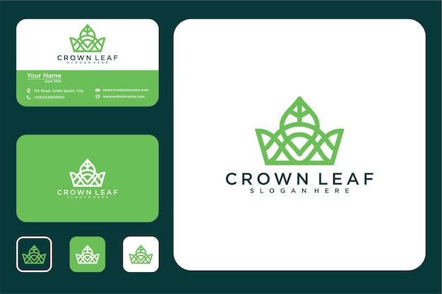 Элегантный дизайн логотипа линии листьев дома и визитная карточка